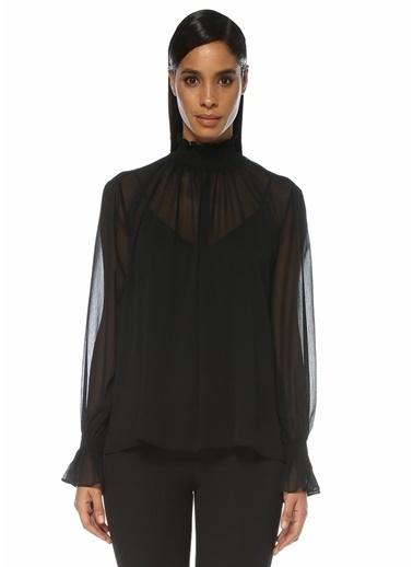 Beymen Collection Beymen Collection  Dik Yaka Büzgülü Şifon Gömlek 101523448 Siyah